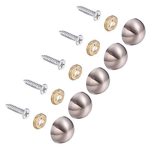 INCREWAY 20 Sätze dekorativ Nägel, 18mm Halbkugelförmig Zinklegierung Spiegel Schrauben Spiegelnagel mit Dekorativ Kappen
