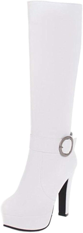 Melady Women Elegant Knee Boots Heels Zipper