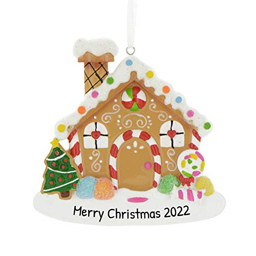 Personalized Gingerbread House Christmas Tree Ornament 2020 - Garnished Sweet Snow Candy-Cane Elegant Single Family Housewarming Host Glitter Year Wooden Winter Front House-Mate - Free Customization