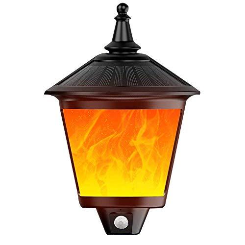 66LEDs luci a fiamma solare per esterni, illuminazione per esterni impermeabile con sensore di movimento, giardino, patio, terrazza, patio, vialetto d'accesso automatico on/off luce da parete di sicur