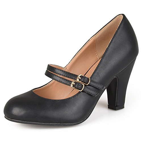 Journee Collection Womens Matte Finish Classic Mary Jane Pumps Black, 8 Regular US