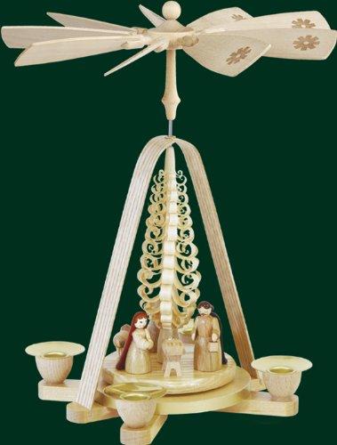Weihnachtspyramide Erzgebirge Richard Glässer Seiffen Christi Geburt 1-stöckig Natur, 01668