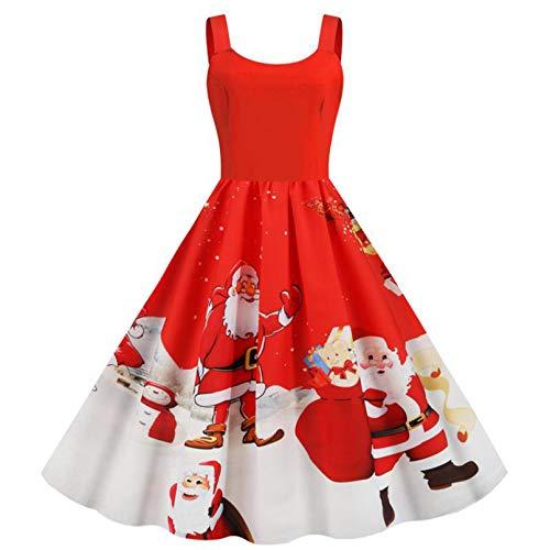 YUANCHENG Vestido de Navidad de Invierno para Mujer, Vestido de Fiesta con Tirantes Finos Sexi, Bata Vintage, Estampado de Copo de Nieve de Santa, Talla Grande