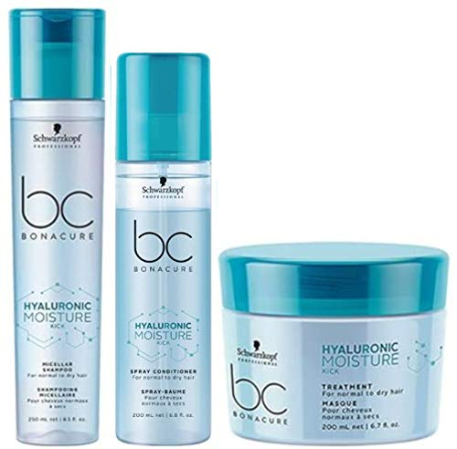 Schwarzkopf BC Bonacure Hyaluronic Moisture Kick Shampoo 250ml, acondicionador 200ml y tratamiento 200ml Pack