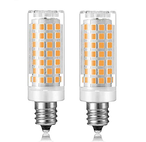 e11 led Bulb 6W, Dimmable, 75W 100W Halogen Bulb Replacement, E11 Mini Candelabra Base, Replaces T3/T4 JD E11, Warm White 2700k, AC110V-130V. (2-Pack)