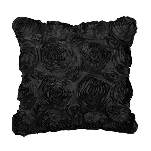 PiccoCasa 3D Satin Rose Flower Throw Pillow Cover Shells,Arts Decorative Pure Color Roses Floral Cushion Covers for Couch,16' x 16', Black