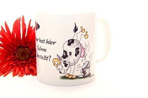 Witzige Kuh Kaffee Tasse mit Spruch Haferl Kaffeetasse Kaffeebecher
