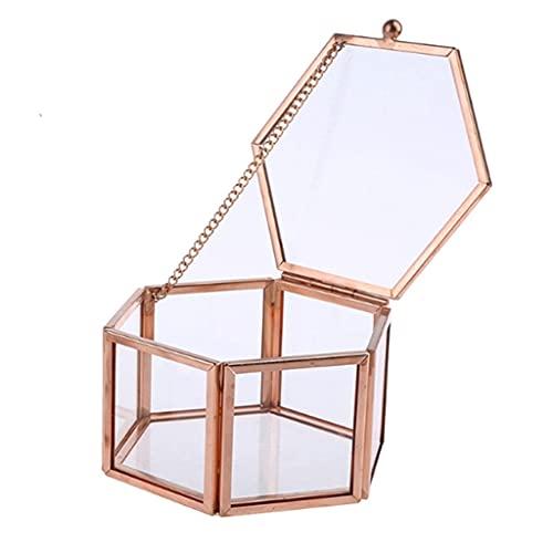 Yousiju Caja de Anillo de Cristal de Oro Rosa Transparente Hexagonal Caja de Anillo de Boda Caja de Cristal Transparente geométrica Organizador de Mesa