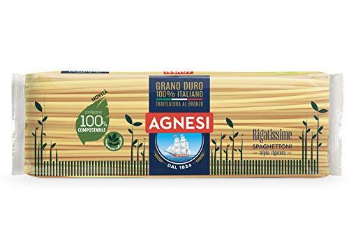 Agnesi Spaghettoni rigati Rigatissime | Pasta di semola di grano duro 100% italiano | Trafilatura al bronzo | Confezione compostabile da 500 grammi