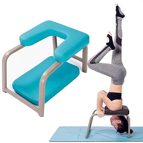 KIMCC Yoga Kopfstandhocker- Stand Yoga Stuhl mit Stahlrohr und PU Pads,Inversion Hocker für Yoga-Starter-Sets Stressabbau & Bodybuilding Last 200kg,Blau