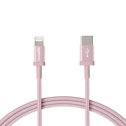 Amazon Basics - Cable trenzado de nylon USB-C a Lightning, cargador certificado por Mfi para iPhone 12/12 Pro/12 Pro max/11/11 Pro/11 Pro max/X/XR, Type-C, PD de Carga Rápida, color oro rosa, 1,8 m