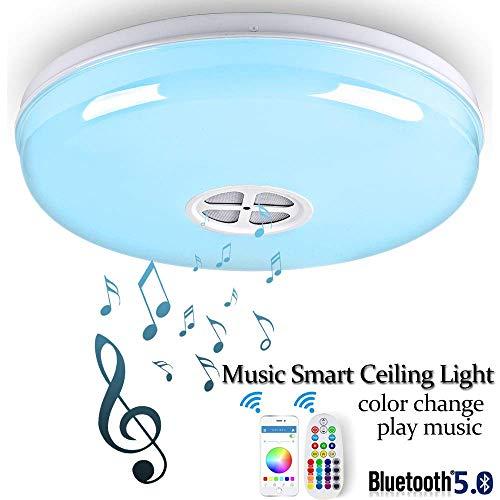 Bluetooth 24W LED Deckenleuchten, Smart APP Fernbedienung RGB White Dimmbar Moderne Deckenleuchte Eingebaute Musik Bluetooth Lautsprecher für Schlafzimmer, Wohnzimmer