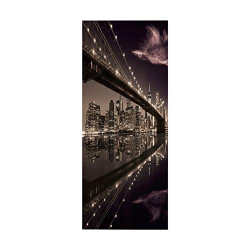 Pegatina de Puerta, póster, calcomanía artística, decoración del hogar para Dormitorio, Vida, Ciudad Brillante, tamaño 90 * 200 cm