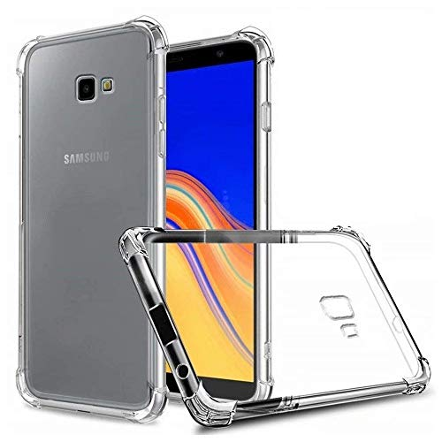 REY Funda Anti-Shock Gel Transparente para Samsung Galaxy J4 Plus 2018, Ultra Fina 0,33mm, Esquinas Reforzadas, Silicona TPU de Alta Resistencia y Flexibilidad
