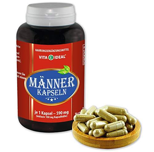 VITAIDEAL ® Männer 180 Kapseln je 590mg, mit Sägepalme, Brennessel, Epilobe, Katzenkralle, ohne Zusatzstoffe von NEZ-Diskounter