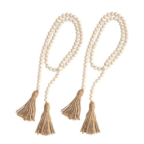 LANOA 2 Sets Big Wood Bead Garland,54 Inch Farmhouse Rustic Country Beads with Tassels Prayer Beads Wall Hanging Décor