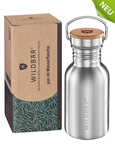 WILDBÄR® - NEU - Premium Trinkflasche Edelstahl 500ml, BPA-freie auslaufsichere Wasserflasche mit Bambuseinlage im Deckel, einwandige Edelstahl Trinkflasche für Kinder, Uni, Büro, Camping Zubehör