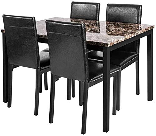 Recaceik 5-Piece Kitchen Table, Faux Marble Dining Set for 4 with Chairs for Small Spaces Living Room Home Furniture, Black…