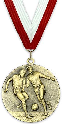 Ninguna Medalla de Metal Personalizable - Fútbol Masculino - Color Oro - 6,4cm - Cinta Incluida - Colores de Cinta - Rojo-Blanco