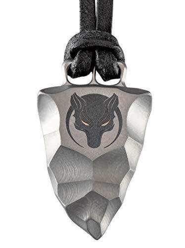 D-Vision-Jewelry Titan Faustkeil Wolf Amulett aus Reintitan Herrenschmuck Anhänger Lederband (45)