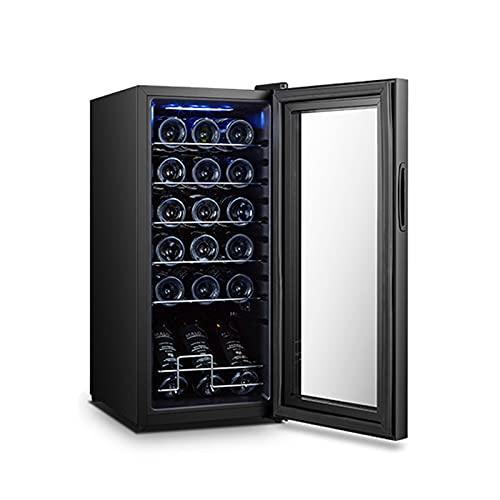 MIAOYO Vinoteca para Vino Blanco Champán Y Más,Botella 18 Vinoteca,Independiente Compresor Vinoteca con Control Digital De Temperatura,Negro,34.5x45x77cm