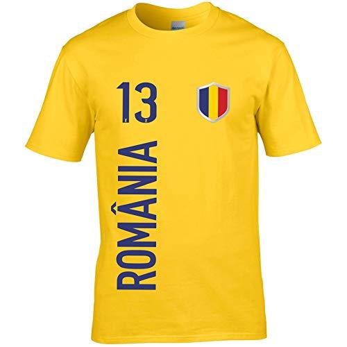 FanShirts4u Kinder Fanshirt Trikot Jersey RUMÄNIEN ROMÂNIA T-Shirt inkl. Druck Wunschname u. Wunschnummer WM EM (3/4 Jahre 98-104 cm, ROMÂNIA/Gelb)