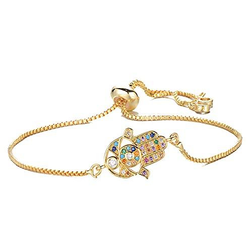 Pulsera de mano Hamsa personalizada para mujeres y hombres, pulsera con dijes de circonita cúbica de cobre, brazalete, joyería de moda ajustada
