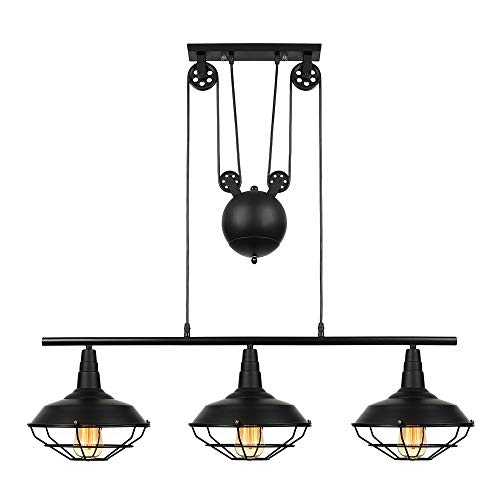 "Industrial Vintage Retro Linear Chandelier - LITFAD 35"" Wide Edison Metal Hanging Ceiling Light Pendant Light Billiard/Pool Table Island Light Fixture Black Finish with 3 Lights"