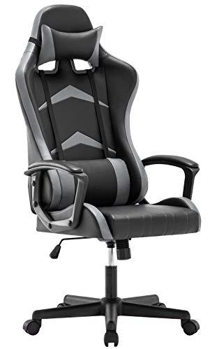 IntimaTe WM Heart Gaming Stuhl, Bürostuhl mit Verstellbarem Kopfkissen und Lendenkissen, Ergonomischer Schreibtischstuhl, Racingstuhl mit Hoher Rückenlehne (Grau)