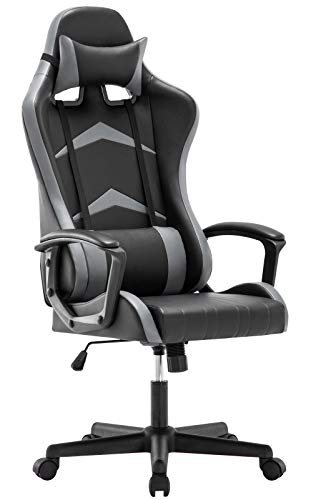 IntimaTe WM Heart Office Gaming Chair, High-back Racing Chair with Swivel Function, Back Support and Adjustable Headrest&Lumbar Cushion(Grey)