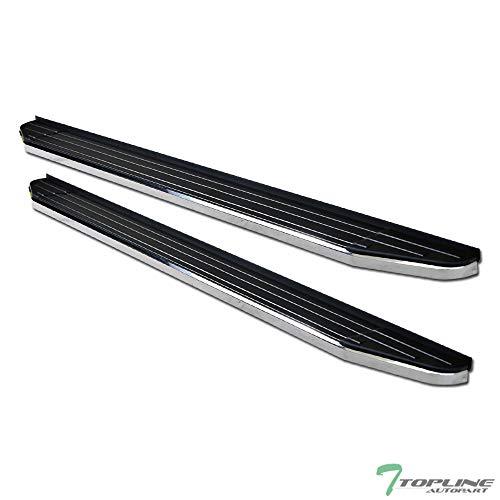 Topline Autopart 6' VP Style Black With Chrome Trim Aluminum Side Step Rail Running Boards For 16-19 Honda Pilot