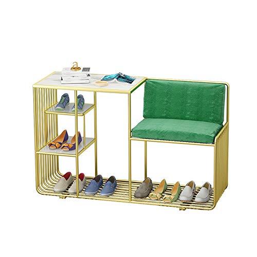Liuxiaomiao Schuhhocker Aufbewahrungsbank mit gepolsterten Sitzkissen Flur Bank Schuhschrank geeignet for den Heimgebrauch für Flur Schlafzimmer (Color : Gold, Size : Free Size)