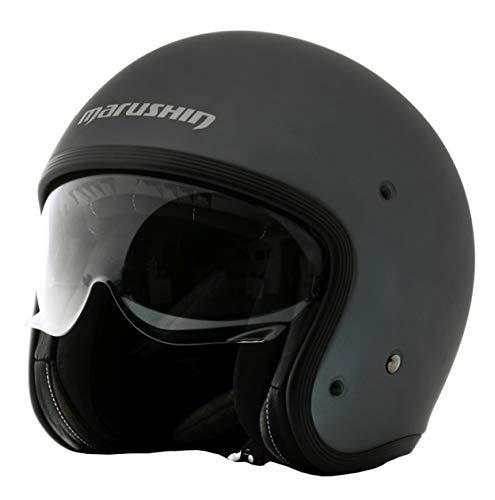 Marushin C-149 Motorrad Helm Jethelm Premium Line Halbschalenhelm, XL, Mattgrau (XL, Mattgrau)