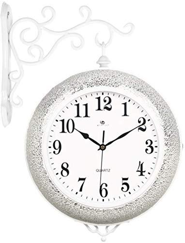 Samanthaa Orologi alla Moda Orologio da Parete su Due Lati Orologio da Parete Semplice del Salone Creativo Muto di personalità Decorativo Orologio da Parete casa dell'orologio (Color : B)