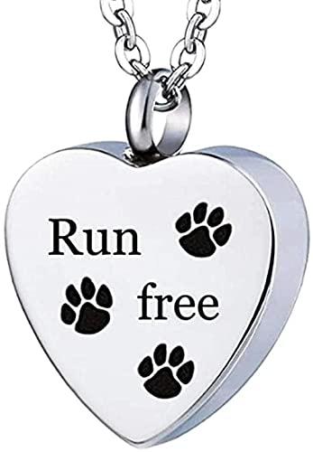 Unisex de acero inoxidable para mascotas, perros / gatos, joyería con estampado de pata, joyería de cremación, soporte para cenizas, collar de urna conmemorativa para mascotas para memoria