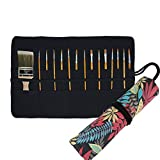 30 Pockets Artist Paint Brush Roll Up Bag Holder Canvas Pouch Case (Colorful Leaf)