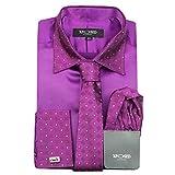 Camisa formal para hombre con cuello de borde plateado, doble puño con tacto satinado, vestido de novia, incluye corbata, pañuelo, gemelos - Morado - 3X-Large