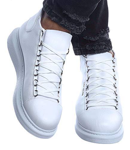 Leif Nelson Herren Schuhe Freizeitschuhe Boots Elegante Moderne Schuhe für Winter Sommer Männer Sneakers LN163; 45, Weiß