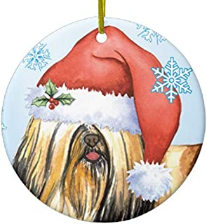 Happy Holidays Lhasa Apso Ceramic Ornament for Gift Commemoration Day