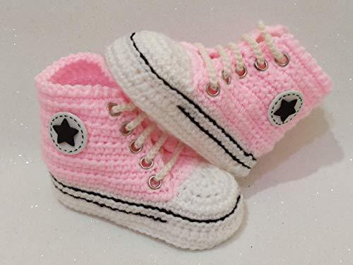 Scarpette vari colori bimbo bimba tipo converse all star. Fatte a mano ad uncinetto in lana merinos. Scarpette neonato 3-6 mesi. Idea regalo per bambini. bootie handmade