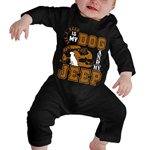 Dog and My Jeep Long Sleeve Romper Bodysuit for Baby Girls'