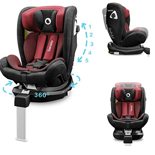 Lionelo Braam seggiolino auto gruppo 0 I II e III da 0 a 36 kg girevole 360 opposto senso di marcia fino 18kg Isofix gamba stabilizzatrice regolabile dri seat (Rosso scuro)