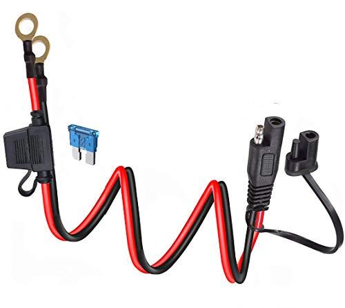 DONJON 10AWG SAE Anschluss Kabel,SAE-O-Ring Batterie Verlängerungskabel,2pin Schnelltrenn Verlängerungskabel,SAE Anschluss Kabel mit 15A Sicherung Staubkappe, für Motorrad,Auto,3.28FT