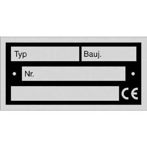 Typenschild zur Selbstbeschriftung Größe (BxH): 5,2 x 2,6 cm 0,5mm Aluminium silber matt