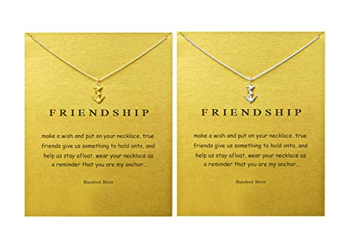 Hundred River Friendship Clover Necklace Unicorn Good Luck Elephant Necklace with Message Card Gift Card(2&3pack) (Compass 3pack)