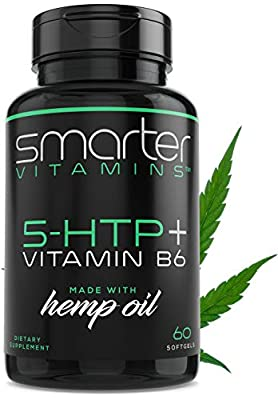 200mg 5-HTP + Vitamin B6 & Organic Hemp Oil for Ultra Serotonin Supplement Support + Natural Stress Relaxation, Mood & Sleep Boost, Extra Strength Extended Time Release