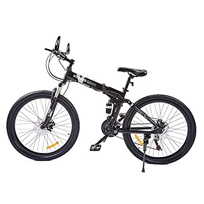 VIRIBUS 21 Speed Mountain Bike with Dual Disc Brakes   26 Inch All-Terrain Bicycle with Full Suspension Adjustable Seat   26er MTB with Aluminum Frame   Adult Road & Offroad Folding Bike (Black)