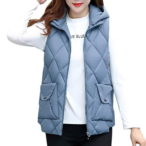 QIQIU Womens Plus Size Mouwloos Hooded Katoen Pocket Rits Vest Winter Warm Jas Korte Taillejas Bovenjas