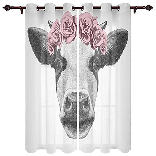 QWFDAQ Cortinas Flor de Vaca Animal Rojo Gris Blanco Cortinas Opacas 85cm...