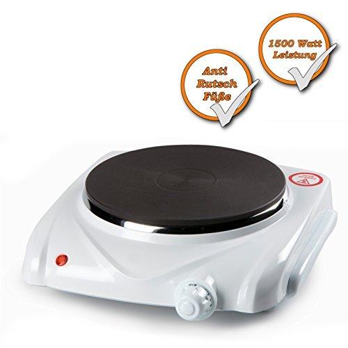 1 Brenner Kochplatte, starke 1500Watt, elektrisches 1 Platten Kochfeld, 6 Stufen Thermostat, Farbe: weiss